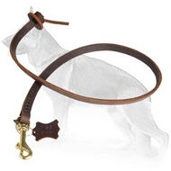 Pocket Leather German Shepherd Leash with Pull Tab 2 foot