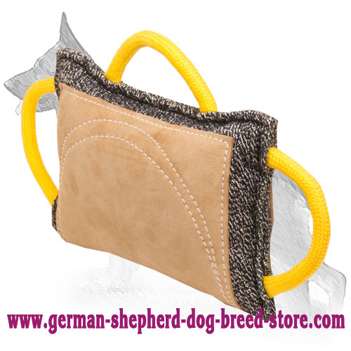 French Linen German Shepherd Bite Pad with Leather Covered Area and 3 Handles