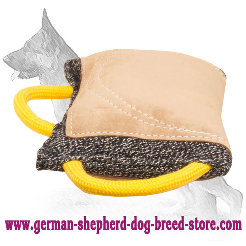 German Shepherd Bite Pad Made of French Linen and Leather