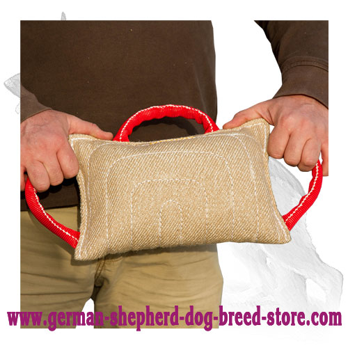 Jute German Shepherd Bite Pillow with 3 Handles
