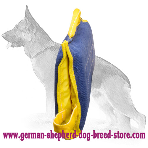 Training German Shepherd Puppy Bite Sleeve of French Linen
