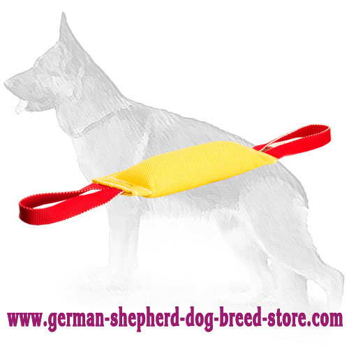 French Linen German Shepherd Bite Tag with 2 Handles