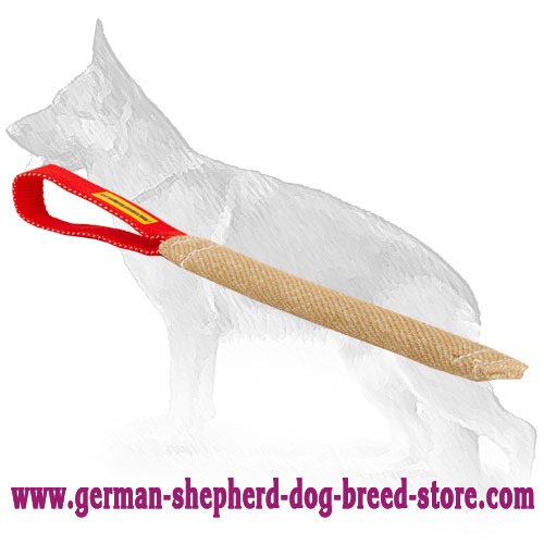 Stitched Pocket Jute German Shepherd Toy with Handle