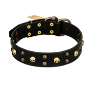 FDT Artisan 'Heavy Metal' Decorated Leather German Shepherd Collar with Skulls and Studs 1 1/2 inch (40 mm)