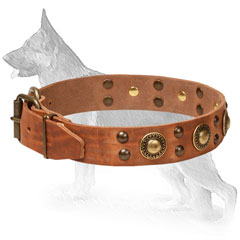 Leather German Shepherd Collar Decorated