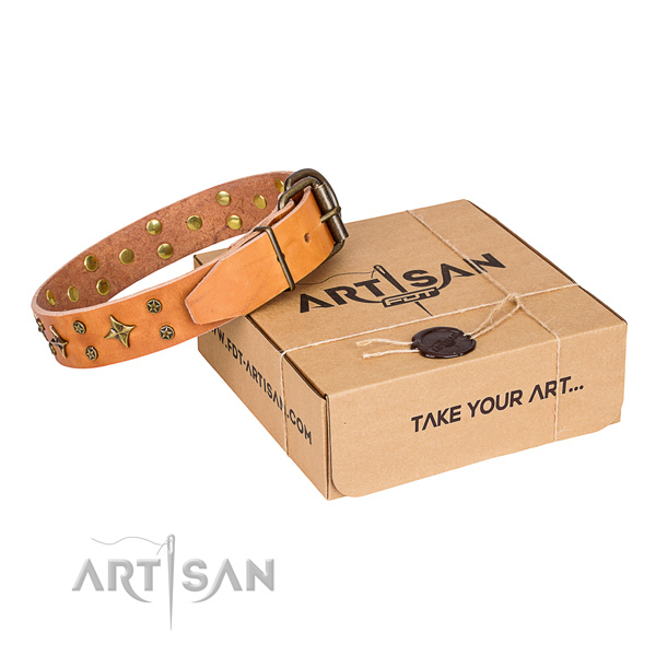 Adorned leather dog collar for comfortable wearing