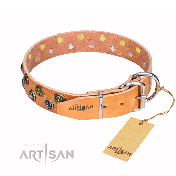 Exceptional natural genuine leather dog collar for walking