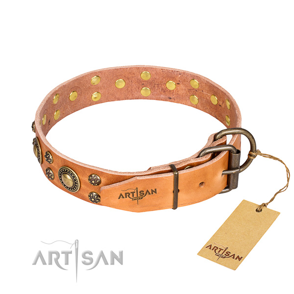 Handy use natural genuine leather collar with studs for your dog