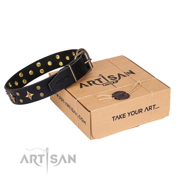 Adorned natural genuine leather dog collar for everyday use