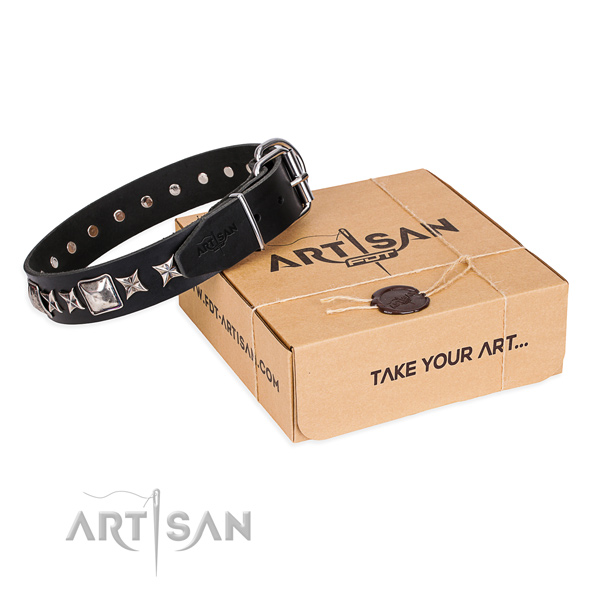 Studded genuine leather dog collar for easy wearing