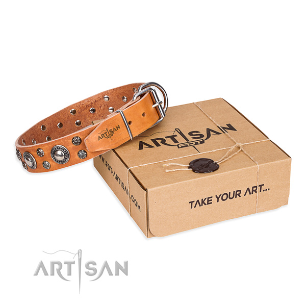 Perfect fit natural genuine leather dog collar for everyday use
