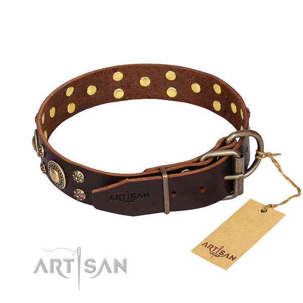 Stylish walking full grain natural leather collar with decorations for your four-legged friend
