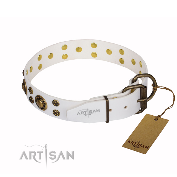 Handy use full grain natural leather collar with studs for your dog