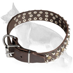 Buckle Leather German Shepherd Collar with 3 Rows Riveted Studs and Pyramids