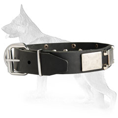 Leather German Shepherd Collar with Nickel Plated Buckle