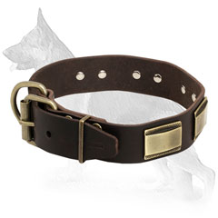 Buckled Leather German Shepherd Collar with Riveted Plates
