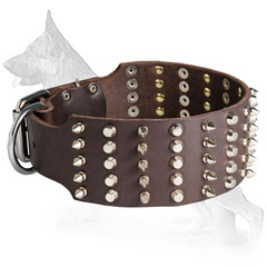 Extra Wide Leather German Shepherd Collar with Spikes and Cones