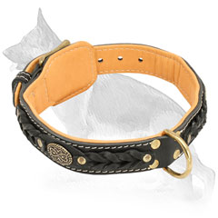 Leather German Shepherd Collar Nappa Padded Fur Saver with Ring