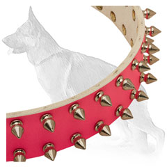 Pink Leather German Shepherd Collar Strap Decorated with Nickel Plated Spikes
