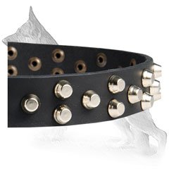 Leather German Shepherd Collar Studded with Pyramids