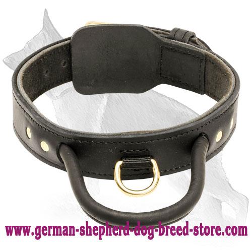 Fur Saving Two Ply Leather German Shepherd Collar