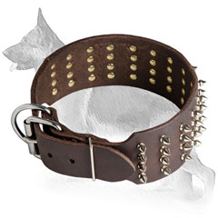 Adjustable Leather German Shepherd Collar Wide Spiked