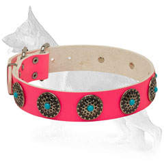 Pink Leather German Shepherd Collar with Circles and Blue Stones