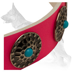 Pink Leather German Shepherd Collar Strap Decorated with Blue Stone Circles