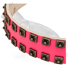 Pink Leather German Shepherd Collar Strap with 2 Rows Square Studs