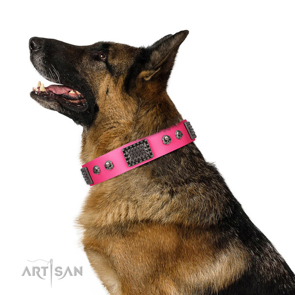 Easy adjustable full grain natural leather collar for your stylish four-legged friend
