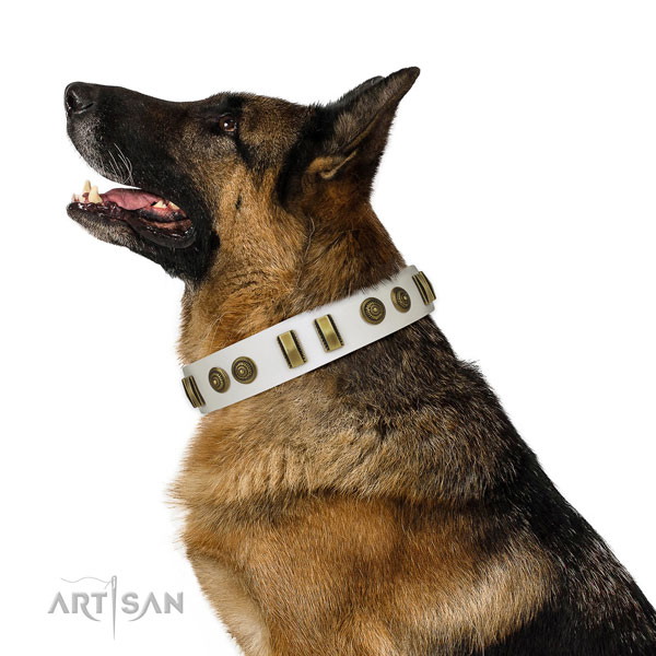 Corrosion resistant D-ring on full grain genuine leather dog collar for stylish walking