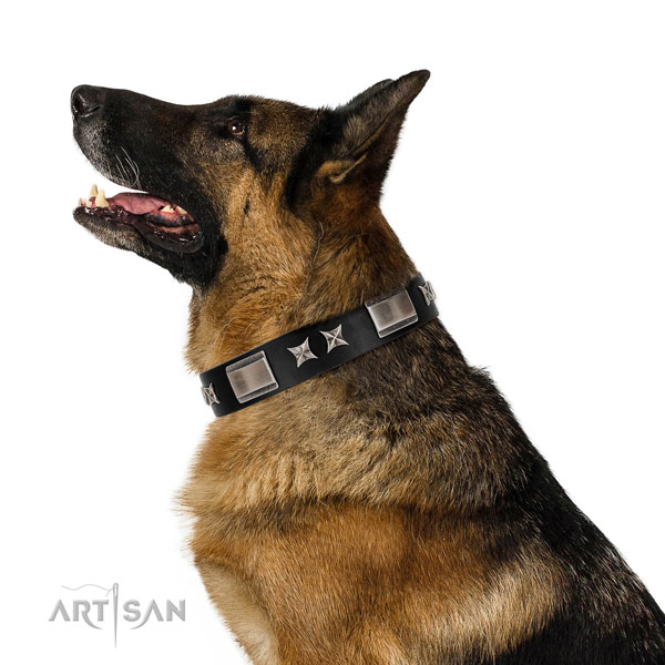 Comfortable wearing soft natural leather dog collar with embellishments