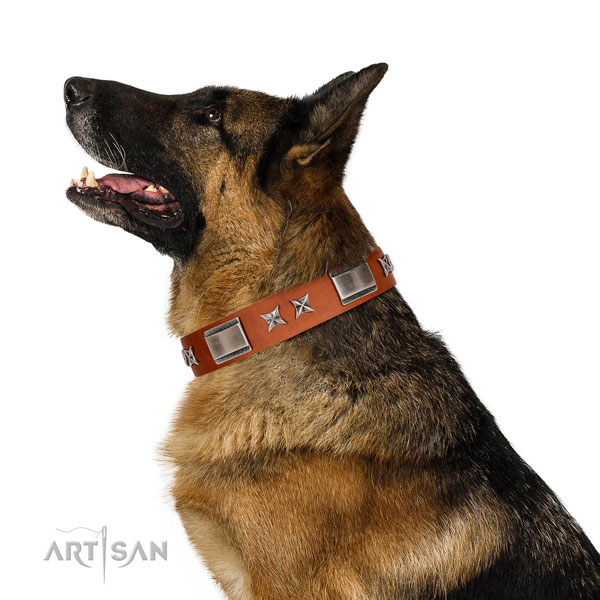 Easy wearing gentle to touch genuine leather dog collar with decorations