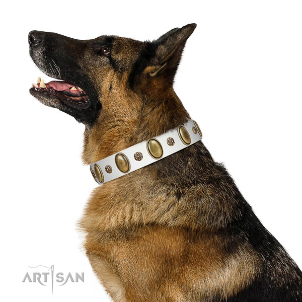 Handy use soft to touch full grain genuine leather dog collar with decorations
