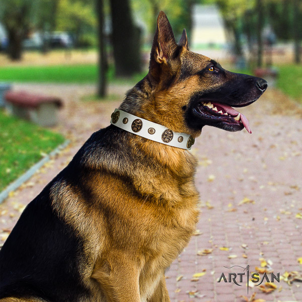 German Shepherd Dog unique decorated full grain natural leather dog collar