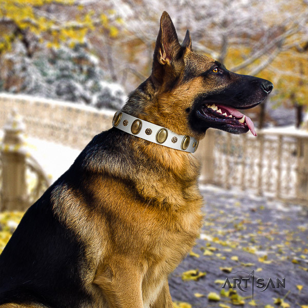 German Shepherd Dog designer decorated genuine leather dog collar