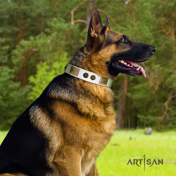 German Shepherd Dog trendy decorated natural genuine leather dog collar