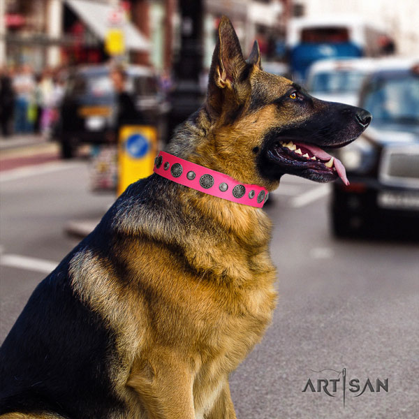 German Shepherd natural genuine leather dog collar with decorations for your lovely four-legged friend