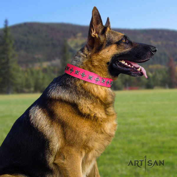 German Shepherd leather dog collar with adornments for your beautiful four-legged friend