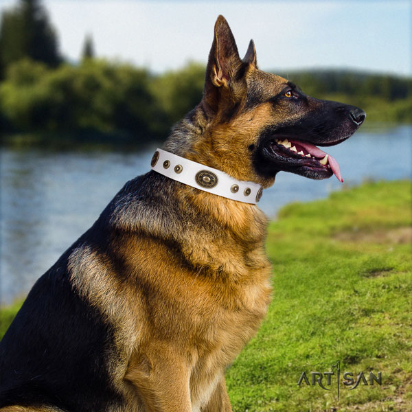 German Shepherd natural genuine leather dog collar with decorations for your lovely canine