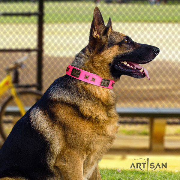 German Shepherd leather dog collar with embellishments for your impressive pet