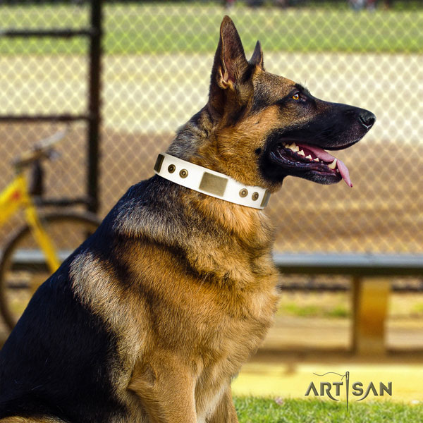 German Shepherd full grain genuine leather dog collar with decorations for your attractive dog