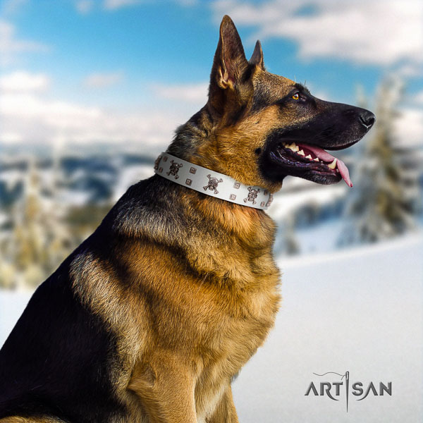 German Shepherd impressive natural genuine leather collar with adornments for your pet