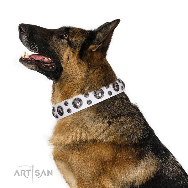 German Shepherd fine quality leather dog collar for easy wearing