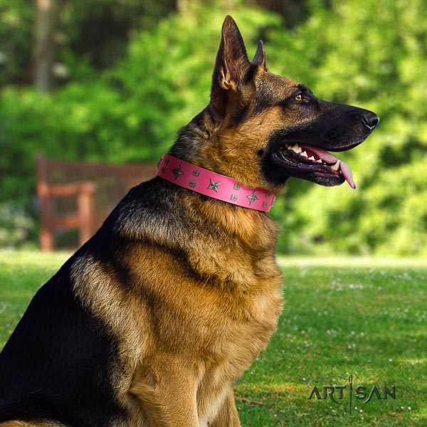 German Shepherd easy adjustable genuine leather collar with decorations for your canine