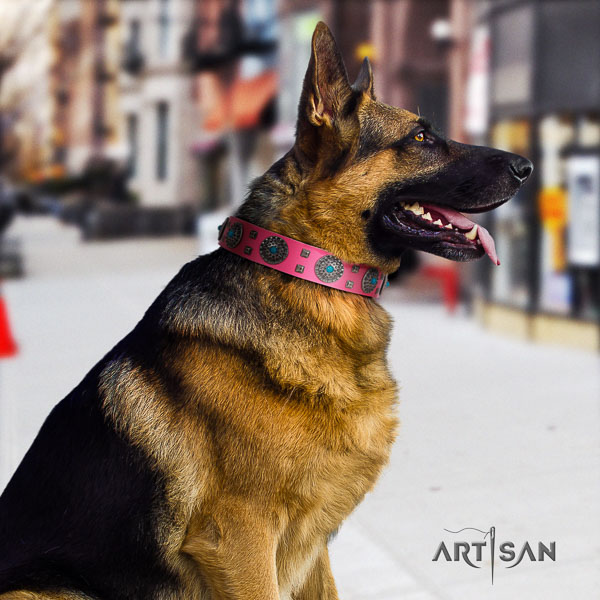 German Shepherd easy to adjust genuine leather collar with adornments for your four-legged friend