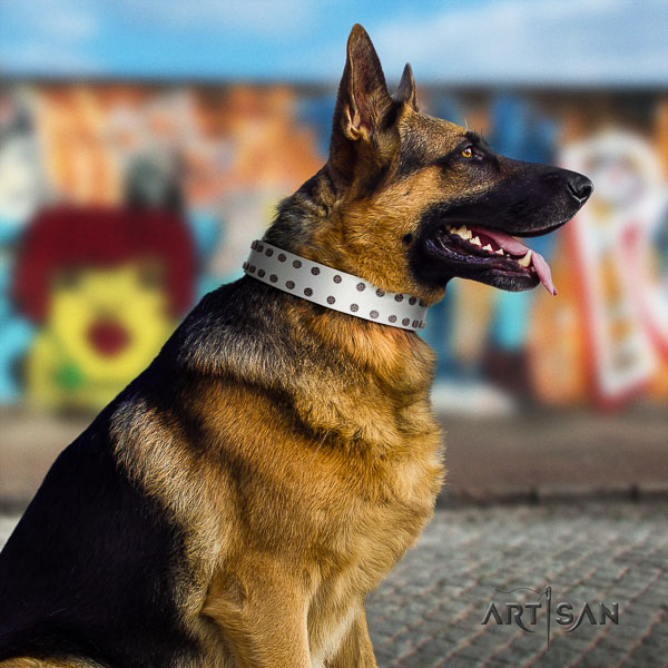 German Shepherd adjustable natural genuine leather dog collar with trendy decorations