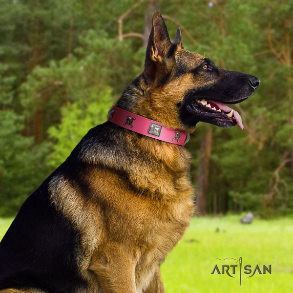 German Shepherd easy wearing full grain genuine leather collar with decorations for your doggie