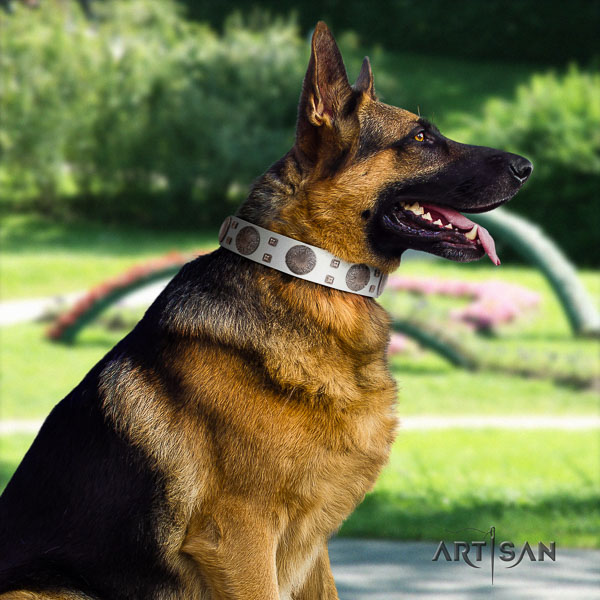 German Shepherd unique full grain natural leather collar with embellishments for your doggie