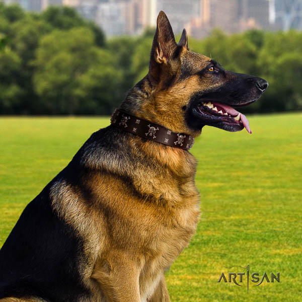 German Shepherd fashionable natural genuine leather collar with studs for your canine